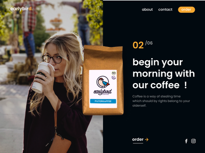 Coffee Landing Page vector logo illustration ui graphic design design animation branding desk office girl hot coffee cold day night morning drink website web coffee
