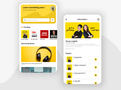 Podcast App typography ux vector logo ui design branding animation illustration graphic design back round square ios android app podcast music headphone yellow