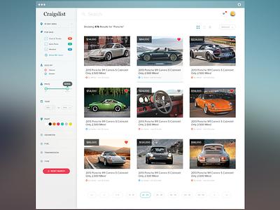 Craigslist Redesign ui ux craigslist ui design user interface ux design search sidenav navigation pagination dashboard