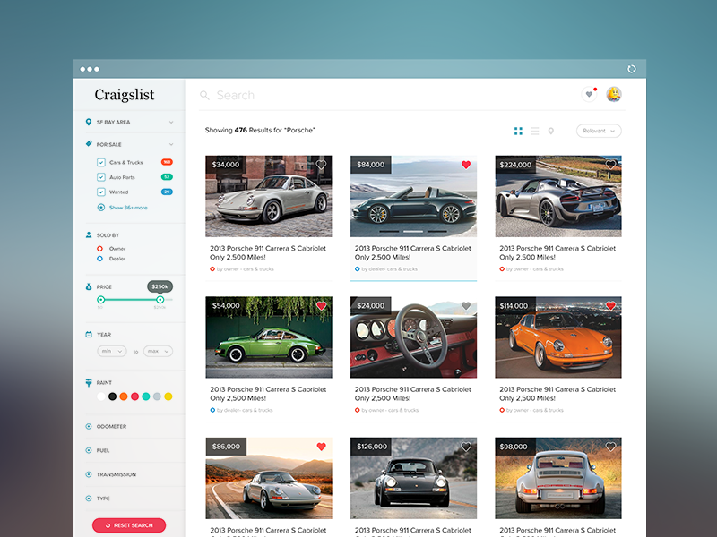 Craigslist Redesign ui ux craigslist ui design user interface ux design search sidenav navigation pagination dashboard