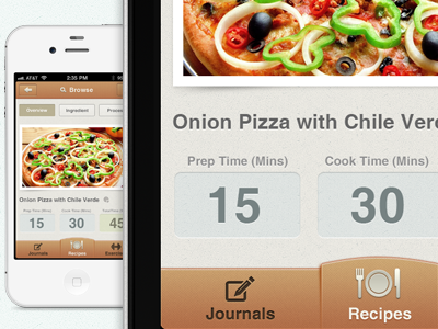 Recipe App Design recipe food iphone app ios counter calorie counter calorie 4s iphone 4s clean tab tanveer