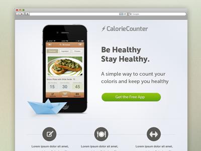 CalorieCounter landing page (WIP) clean web design splash landing page app web calorie calorie counter neat tanveer