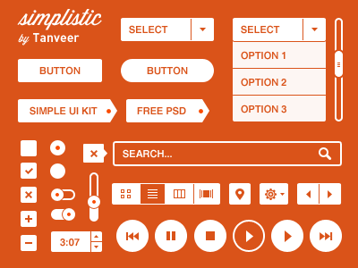 Simplistic UI Kit flat kit simple ui ui kit orange button free free psd freebies psd