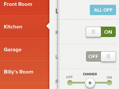 Home Automation App toggle home ipad touch on off sidebar colors home automation app knobs