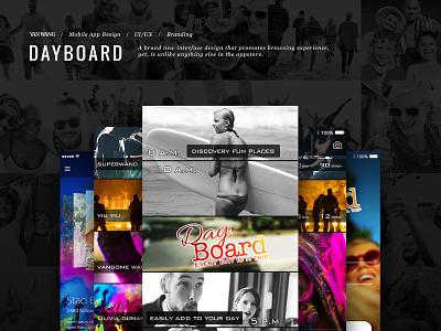 App Design for Dayboard moments social flipboard design app