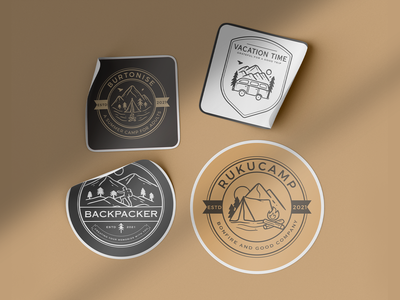 Outdoor Sticker Design vector logo illustration graphic design design card design branding badge logo vintage holiday camp mountain travel outdoor adventures sticker