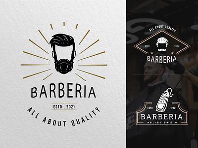 Barbershop Logo logo collections logo templates salon logo ux vector ui illustration graphic design design card design branding badge logo hair stylist barber barbershop icon barbershop logo barbershop