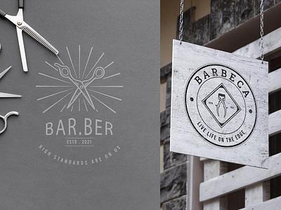 Barbershop Logo ui ux vector illustration graphic design design card design branding badge logo logo logo templates logo collection logo design barber logo barber
