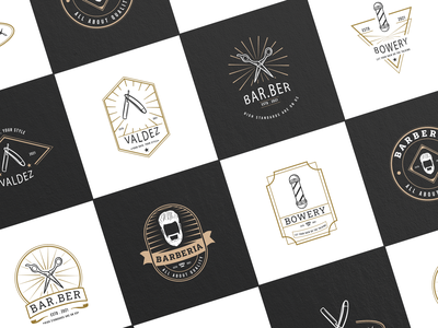 Barbershop Logo Templates scissor logo hair salon barber barbershop ui ux vector logo illustration graphic design design card design branding badge logo