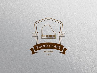 Piano Class Badge Logo store branding unique graphic design winery