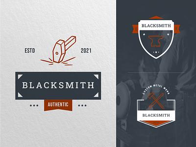 Blacksmith Logo strike badge logo symbolic