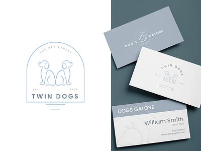 Twin Dog Logo sticker graphic design branding badge logo