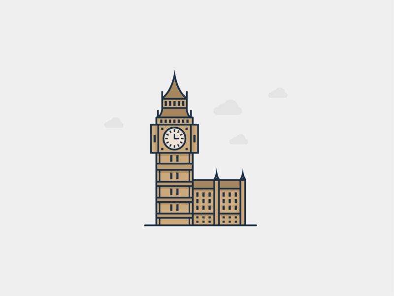 Big Ben Illustration tower uk building monuments monument london clock city illustration big ben