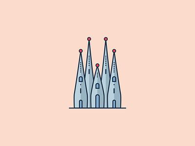 La Sagrada Familia, Barcelona spain sagrada familia monument landmark gaudi city building barcelona design illustration architecture