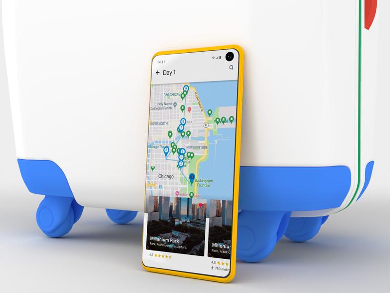 Google Trips colors texture 3d suitcase travel trip material google color blue mobile ux design card app ui