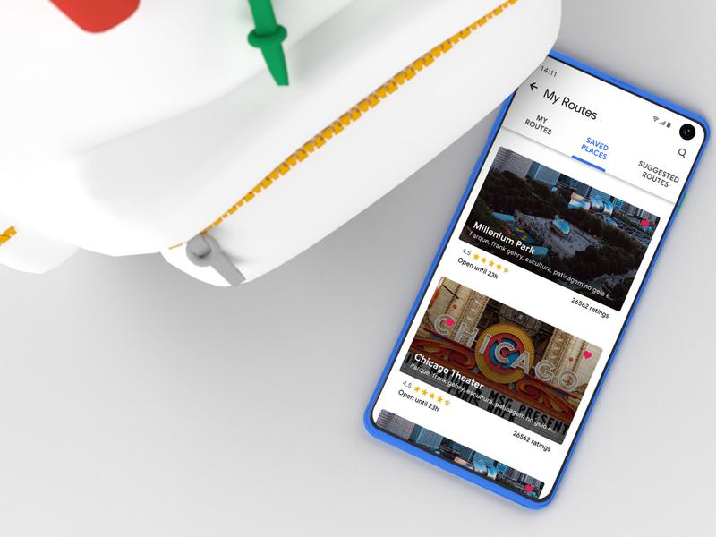 Google Trips texture google design model 3d backpack google blue color site inspire mobile ux design card app ui