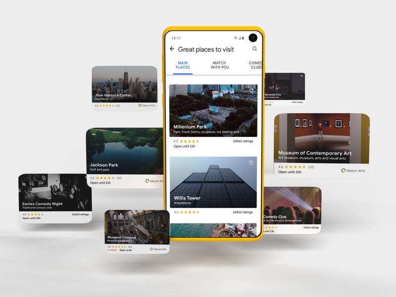Google Trips cards ui 3d trip canada usa chicago google inspire mobile ux design card app ui