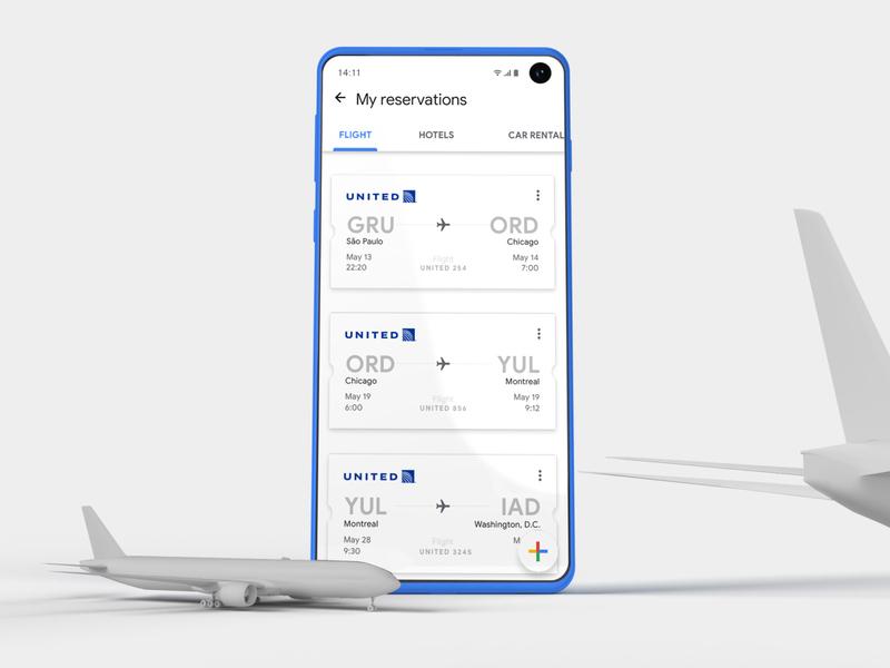 Google Trips google design texture google ticket flight airplane trip blue inspire mobile ux design card app ui