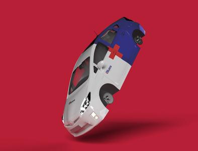 [Blues] Car Wrap healthcare health brand visual identity car wrap wrap light blue red texture 3d vector logo illustration design inspire branding design toyota prius branding