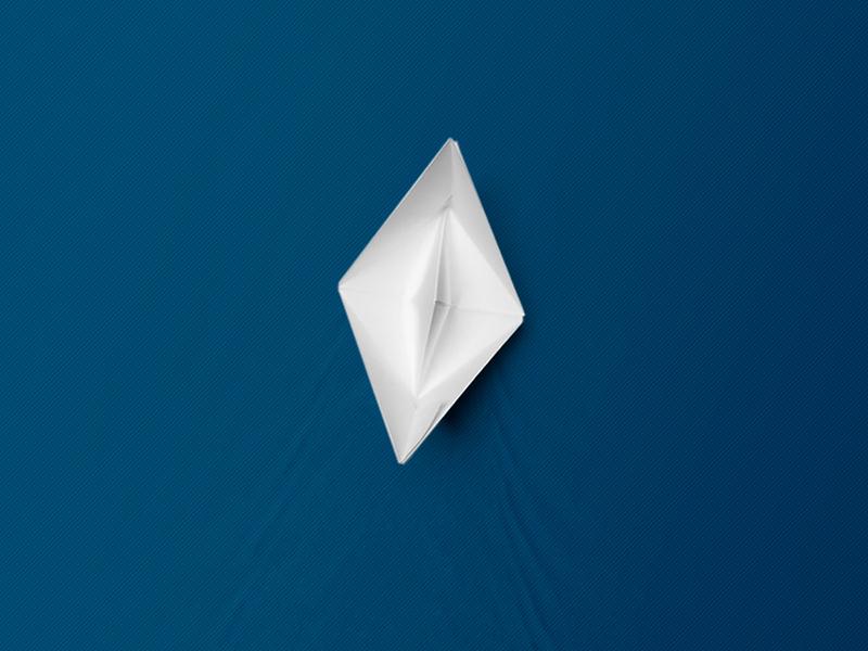 Lonely boat blue design branding illustration paper craft sea wave boat