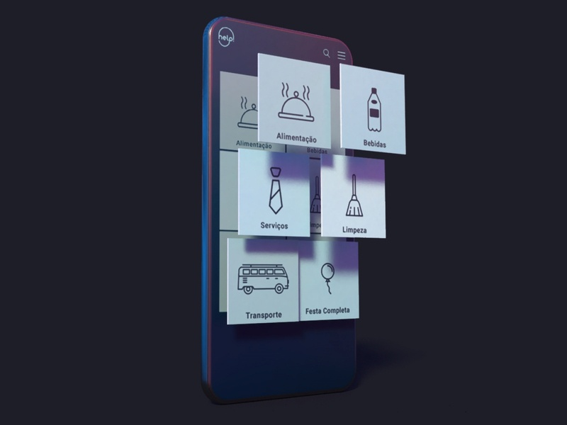 Help! night party marketplace mobile app ux design card ui
