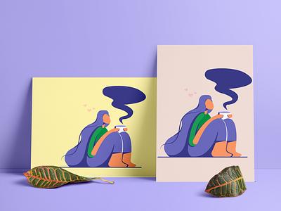 Teagirl poster typography design vector illustration graphic design