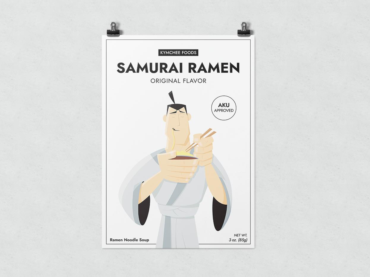 Samurai Ramen food poster aku samurai jack samurai ramen illustration