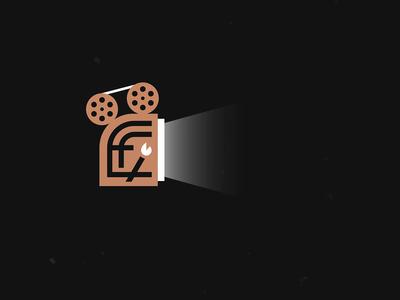 E - Films fire filmmaker film camera camera reel movie films film monogram animation logo design branding logo brand mexico design