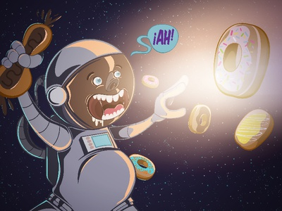 Astrodonut character illustration cartoon 90s illustrator vector stars candy chocolat space donut astronaut