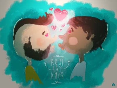 Aqui Hay Amor couple valentines love personal designer design creative clean illustrator illustration cartoon