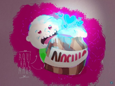 Aqui Hay Amor nutella chocolate valentines love designer design creative clean illustrator illustration cartoon