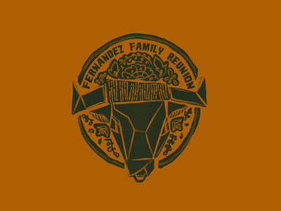Fernandez Family Reunion stamp hand drawn hand drawn logo floral flower logo flowers bull logo animal logo animal art logo bull