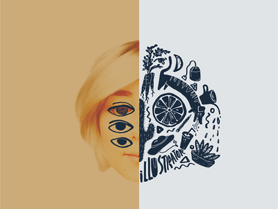Two Face split lemon eyes face art face hand drawn illustration collageart collage