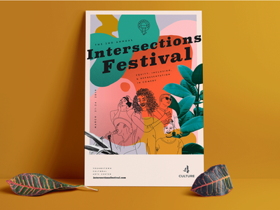 Intersections Poster colorful blobs line illustration plants poster design poster art poster