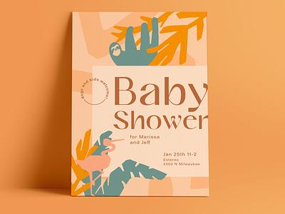 Baby Shower Invite illustration art hand drawn illustration print design baby jungle baby shower invitation design invitation invite