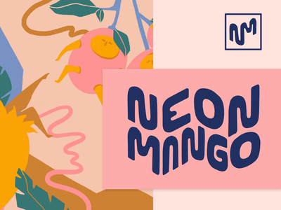 Neon Mango Brand Identity icon typography design logo mark branding design brand identity logodesign fruit hand drawn illustration vector branding logo