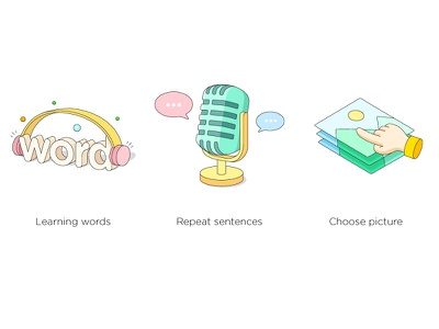 A set of illustrations bubble vector picture image word micphone illustration headset sound voice