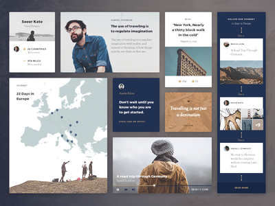 Blue Tent UI kit design interface flat seeer map blog timeline journey quote profile kit ui