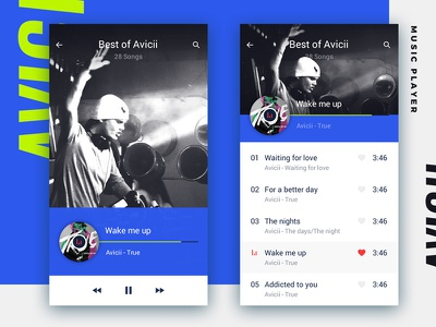 Music player seeer minimal simple blue white user interface ui app flat player music