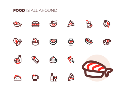 Food is all around drink noodle salad cake sushi food icons