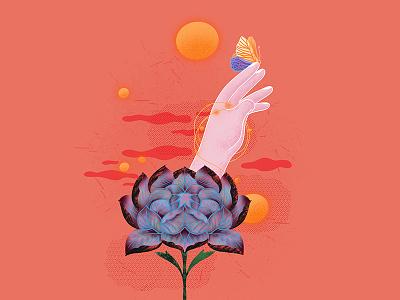 Flower 生如夏花之绚烂 蝴蝶 butterfly peony 牡丹 hand 手 flower asian 中国 china