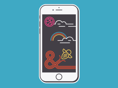 What is Dribbble? sticker rainbow bee iconography icons ui iphone basketball ampersand dribbble