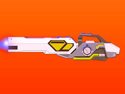 Overwatch: Winston's Gun futuristic videogame laser grid illustration winstons gun winston overwatch gun