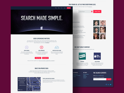 Search Product Homepage space search solr solar blue branding website webpage homepage