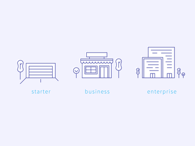 What size is your business? line art startup business corporate shop garage buildings icons