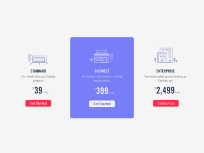 Pricing table conversion web pricing icons garage corporate business buildings