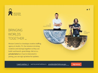 Mission Control Website creatives for hire staffing agency staffing placeholder photoshop planets yellow mission control website hero