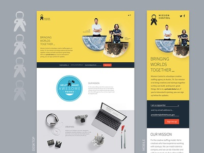 Mission Control Homepage mobile desktop responsive placeholder creatives yellow webpage homepage staffing mission control