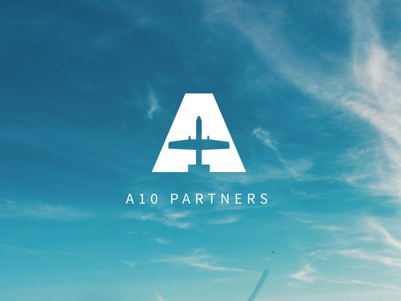 A10 Partners letter a airplane sky blue branding icon logomark logo