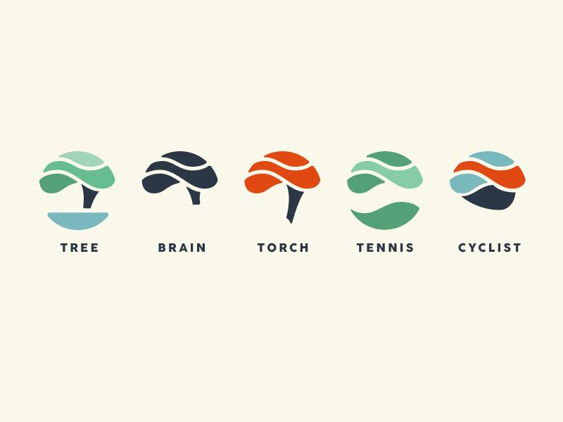 They said it would be fun. cyclist tennis torch brain tree curvy branding icon logomark logo